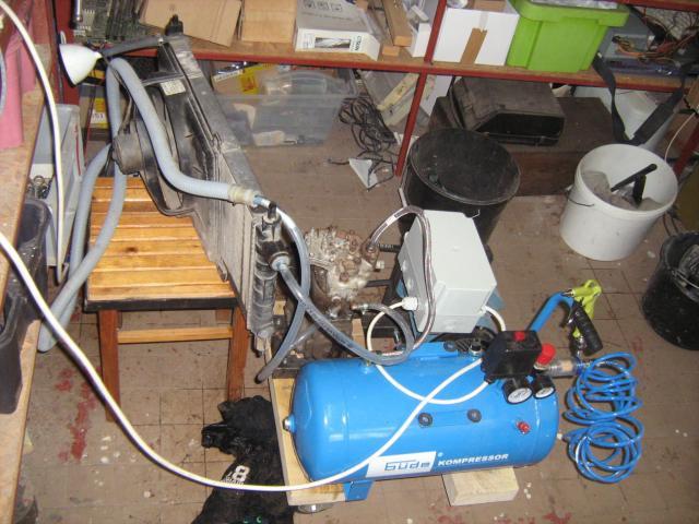 Autó vízhűtés tesztelése (kompresszor)
