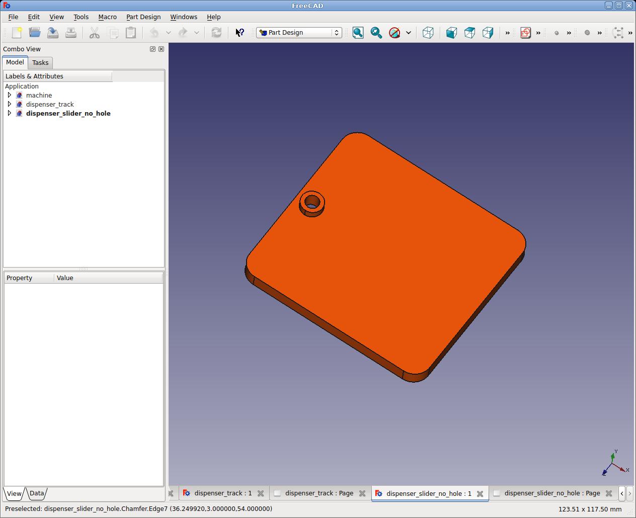 Csokoládé adagoló automata alkatrész a tervezőprogramban (FreeCAD) 2.