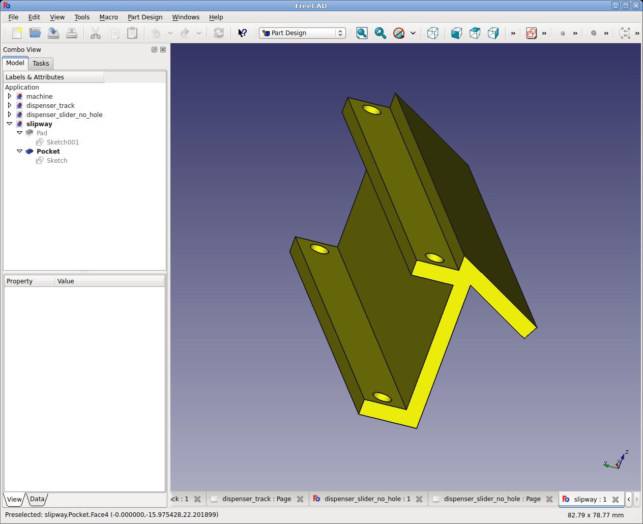 Csokoládé adagoló automata alkatrész a tervezőprogramban (FreeCAD) 3.