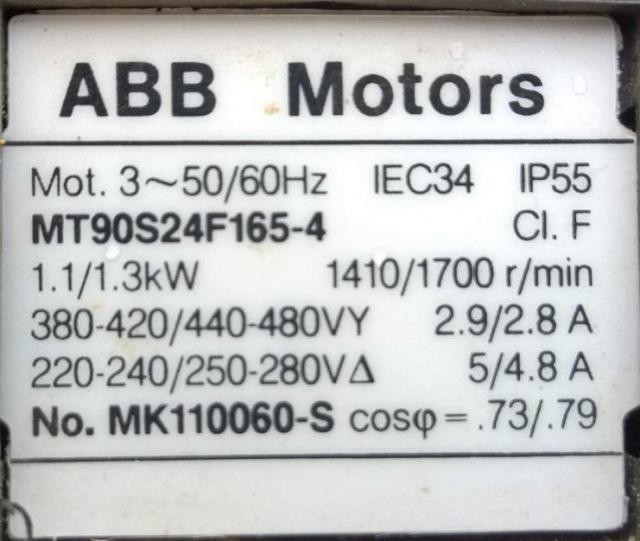 1,1 kW-os három fázisú aszinkron motor adattáblája
