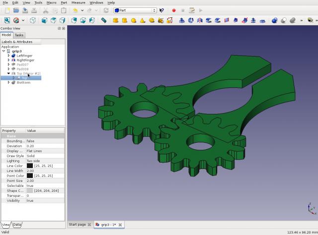3D nyomtatással készült robot kéz FreeCAD-ben (robot grip)