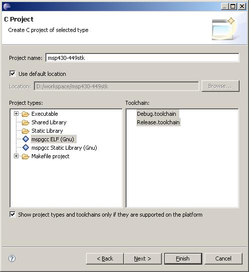 MSP430 fejlesztés Eclipse-el: új projekt