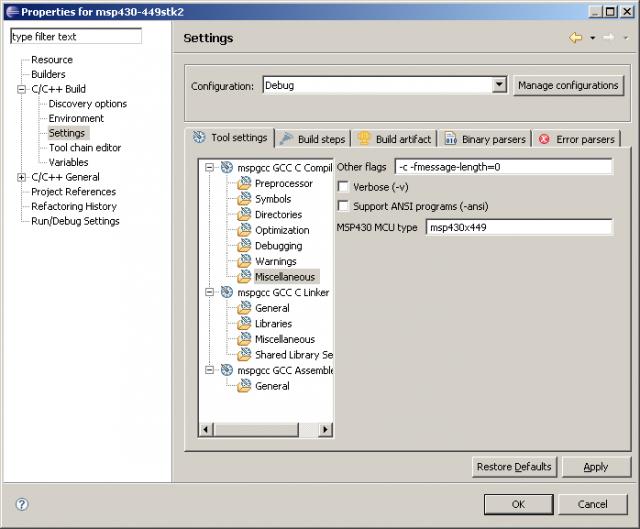 MSP430 fejlesztés Eclipse-el: processzor típus